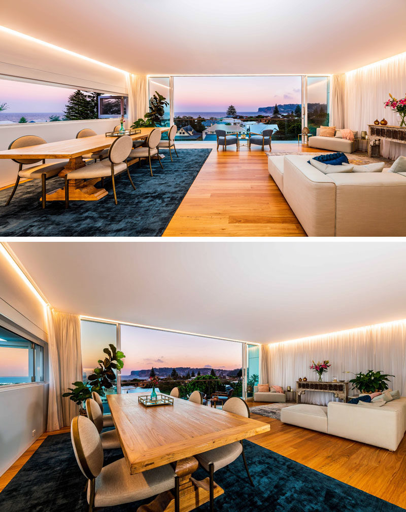 Inside this modern and multi-function studio space, is one large room, that takes full advantage of the sweeping 180-degree views of the ocean and surrounding headlands. #Studio #InteriorDesign