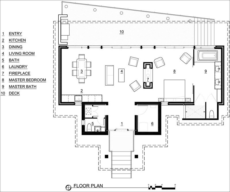 Architecture firmDesigns Northwest, have completed a1,100 square foot hideaway residence situated on the east side of Camano Island, Washington. #BeachfrontCottage #FloorPlan