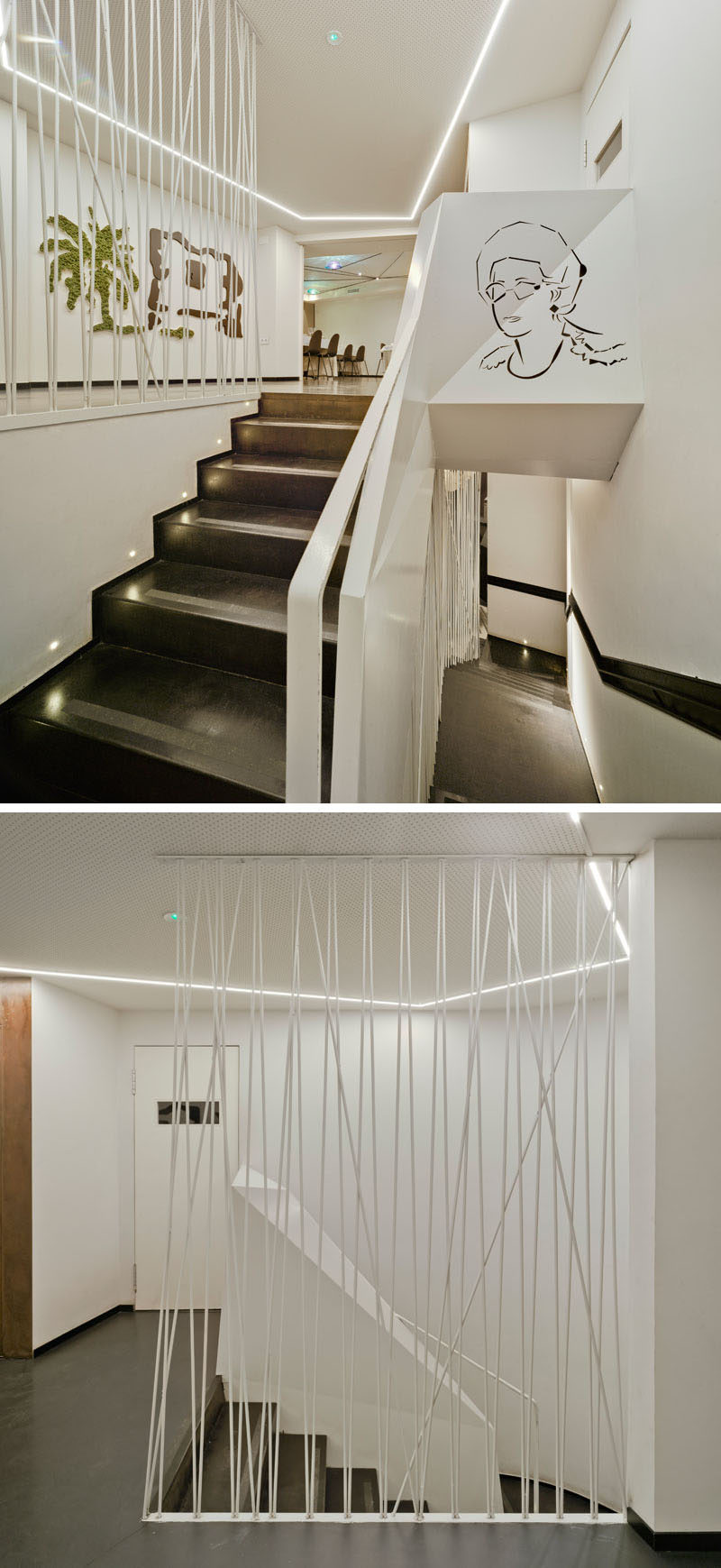 This modern restaurant has stairs featuring a white metal rod safety barrier. #Stairs #StairDesign