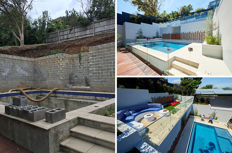 Before & After - This now modern backyard has a swimming pool, planter boxes with built-in seating, and an upper level with a curved lounge and grassy area. #Landscaping #ModernPool #PoolDesign #LandscapeDesign