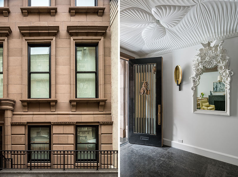 In this entry vestibule, ornamental motifs like the egg and dart molding and V-groove cuts taken from the facade, become folded and pleated surfaces, executed in cnc milled wood. #Vestibule #InteriorDesign #CeilingDetail