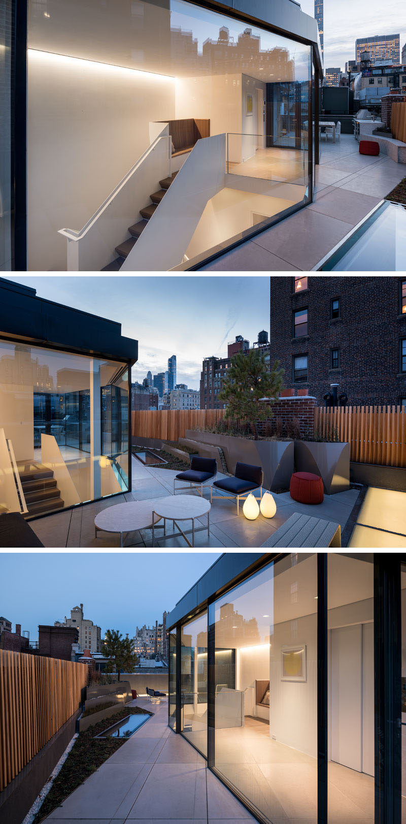 On this modern roof terrace, formed aluminum planters allow indigenous New York State plants to spill out in between the concrete pavers. The roof terrace is home to a lounge and a separate outdoor kitchen with a dining space. #RoofTerrace #Rooftop