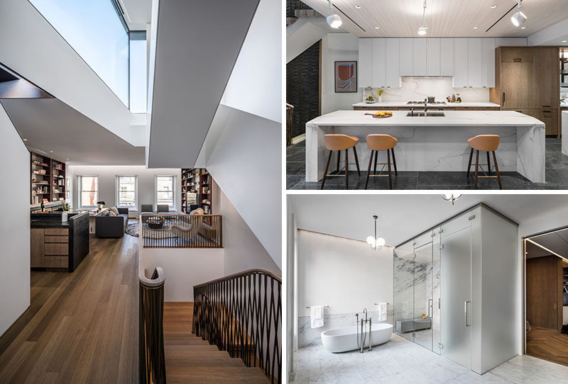 Michael K Chen Architecture (MKCA) have completed the contemporary renovation of a landmarked but badly degraded 1879 Neo-Grec brownstone row house, located on the Upper East Side of Manhattan, New York. #Renovation #Townhouse #RowHouse