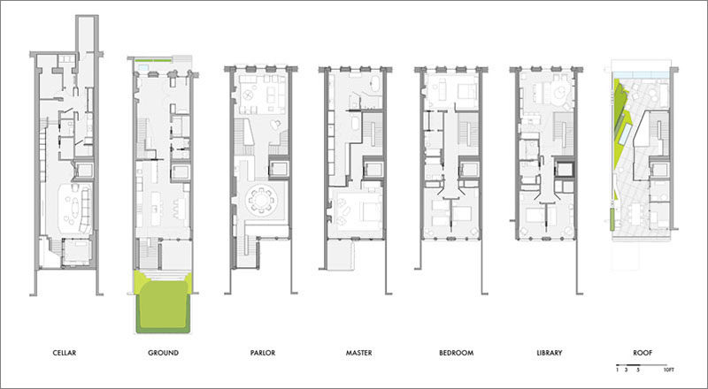 To understand the layout of a contemporary New York townhouse, here's a look at the floor plans. #FloorPlans #Townhouse