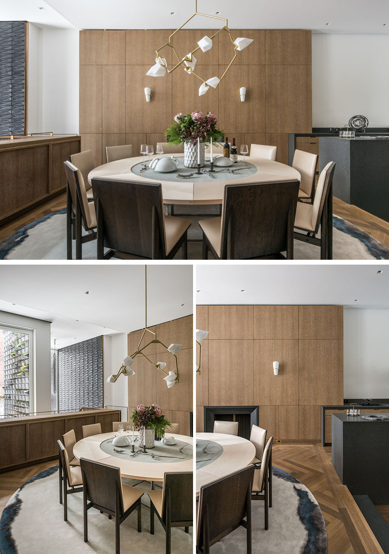 In this contemporary dining room, custom dining room chairs by Christopher Kurtz, have been paired with a vintage dining table by Poul Kjaerholm, and a custom Seed chandelier by Bec Brittain. #DiningRoom #RoundDiningTable #Lighting