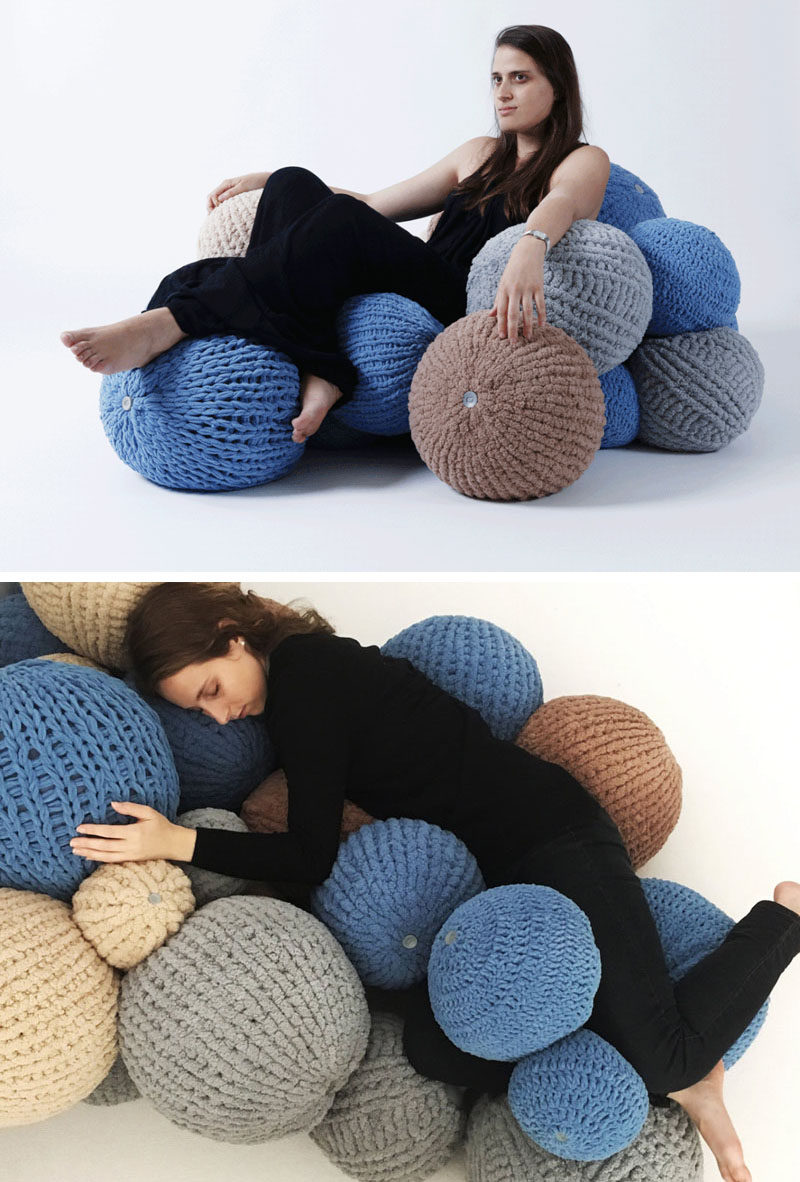 Industrial designer Erez Mor, has created the 'Bubbles' soft seating system, that's made from a collection of knitted balls joined by a connector. #Seating #Design #Furniture