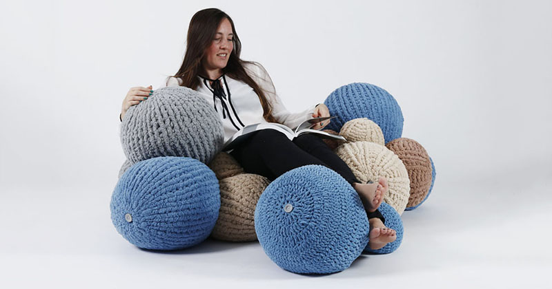 Erez Mor Uses Knitted Balls To Create A Soft Seating