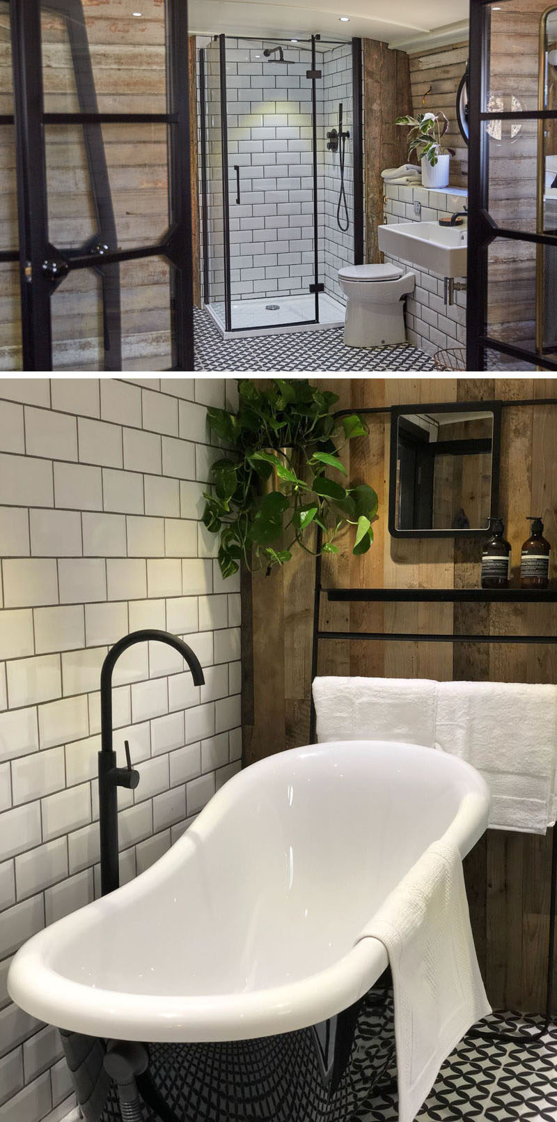 In this bathroom there's patterned tiles on the floor, a black-framed shower with white subway tiles, and a deep freestanding soaking tub with a black exterior. #ReclaimedWood #ModernBathroom #BlackBathtub #BlackAccents