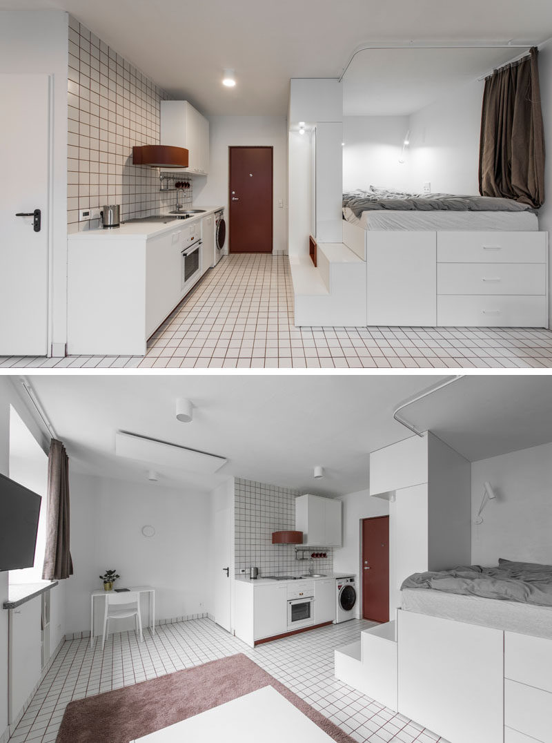 This micro apartment has a lofted bed with storage underneath, a living area, kitchenette, and bathroom. #MicroApartment #StudioApartment #LoftBed #BedWithStorage #SmallApartment #RedGrout