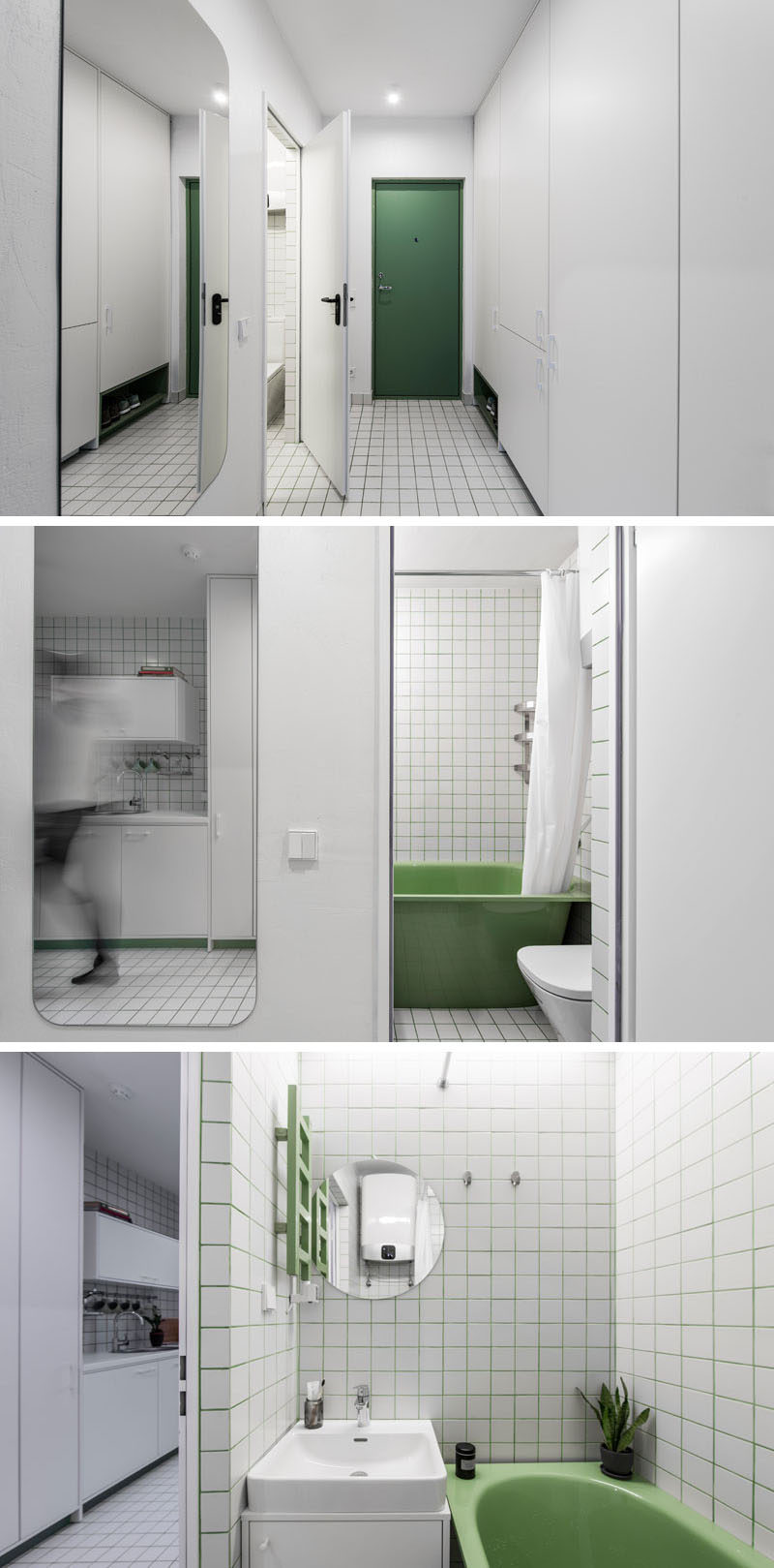 This modern and white micro apartment used green as an accent color, which has been used for front door, the shoe storage, the bathtub, and the tile grout. #GreenAccents #Bathroom SmallBathroom #GreenGrout