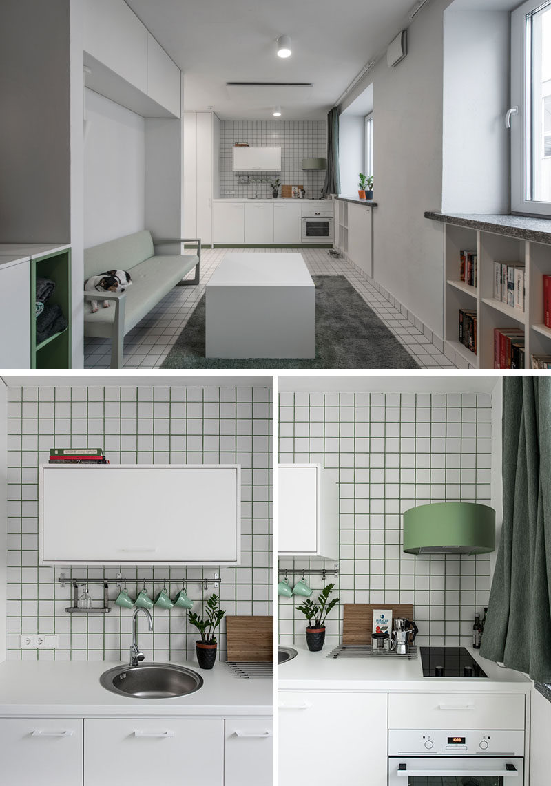 This micro apartment has a loft bed with storage underneath, a living area, kitchenette, and bathroom. #MicroApartment #StudioApartment #LoftBed #BedWithStorage #SmallApartment #GreenGrout