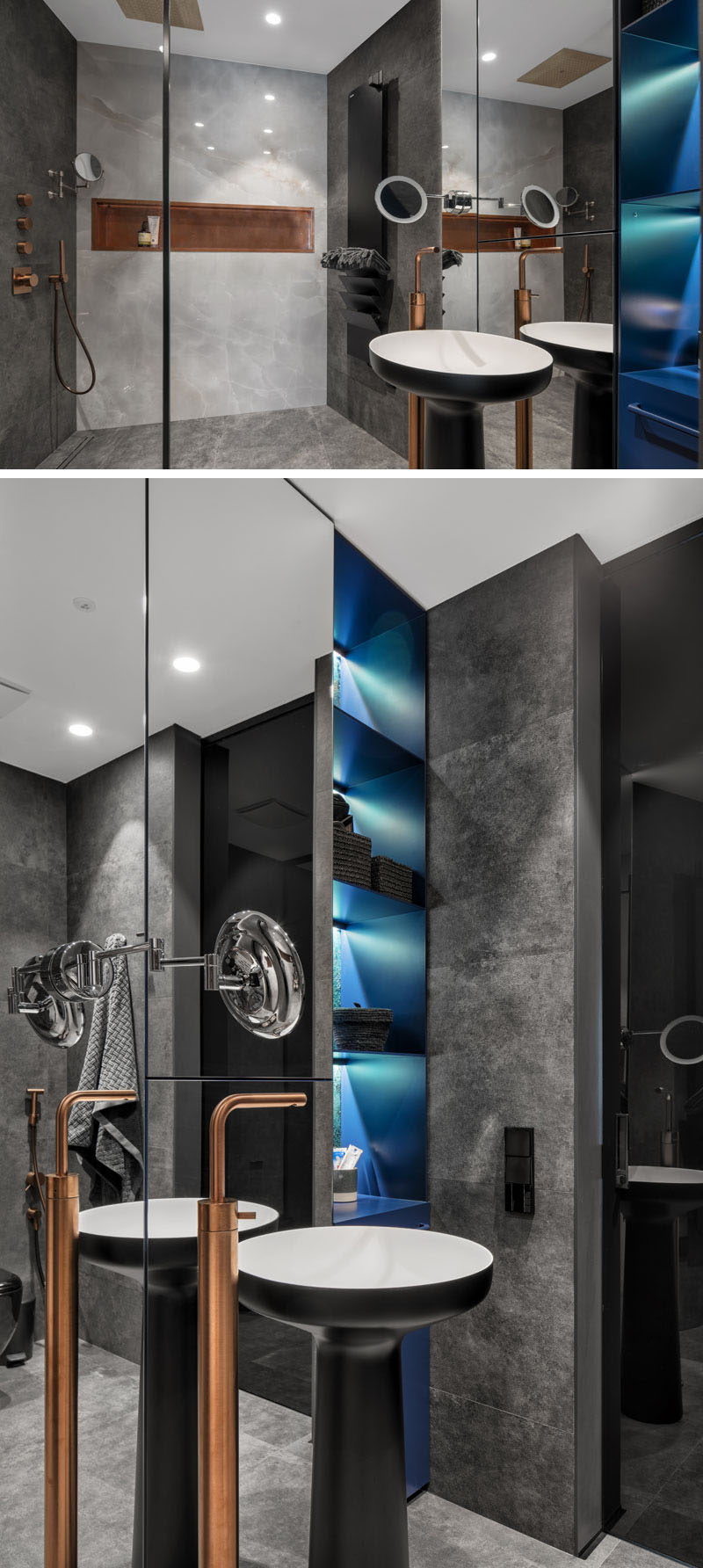 In this modern bathroom, dark design elements have been combined with lighter walls and copper details. A pop of color has been added in the form of a blue shelving unit with built-in led lights.