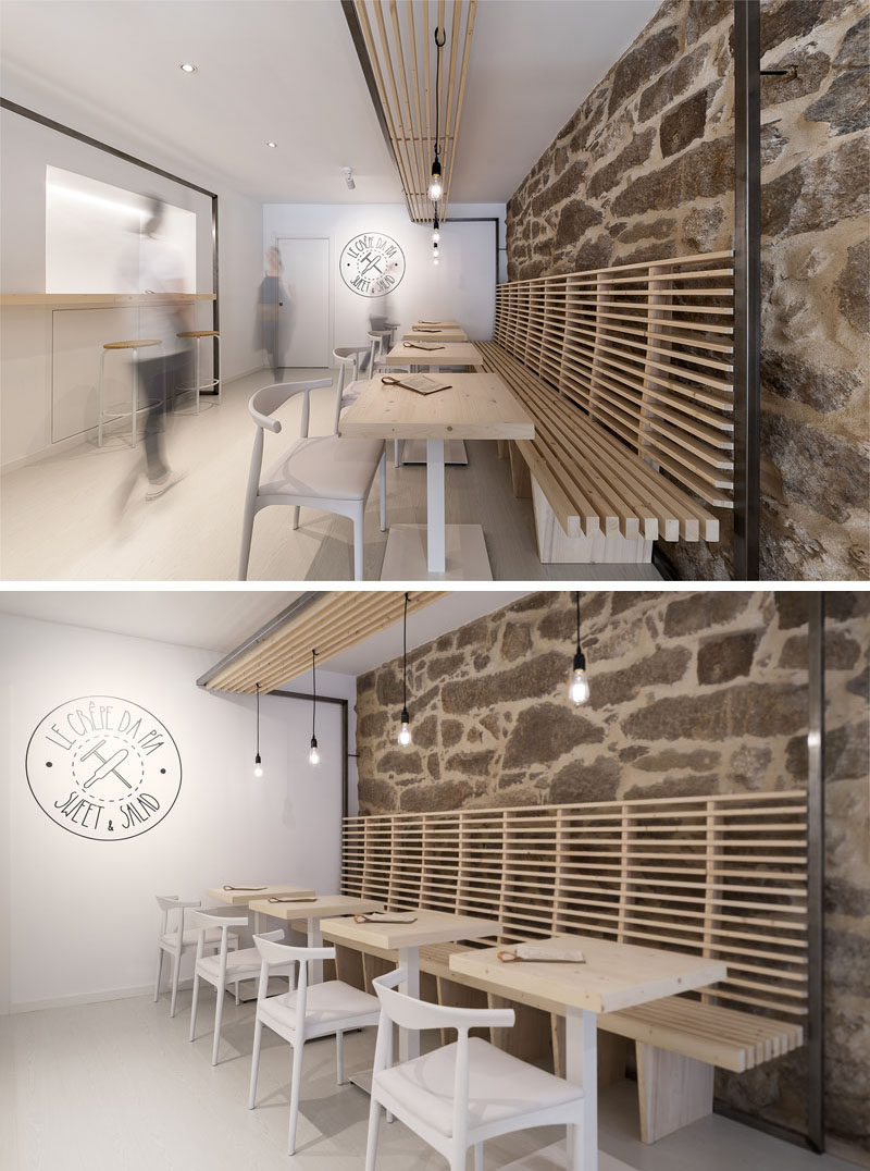 Erbalunga estudio have designed a creperie in Spain that combines original old stone, and new modern design elements. #Creperie #Cafe #RetailDesign #WoodSlats #Logo