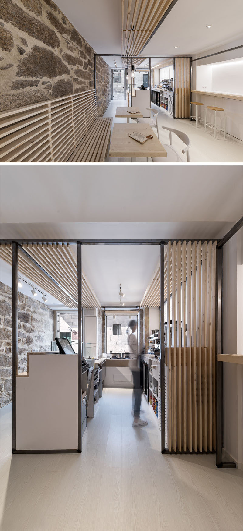 Erbalunga estudio have designed a creperie in Spain that combines original old stone, and new modern design elements. #Creperie #Cafe #RetailDesign #WoodSlats