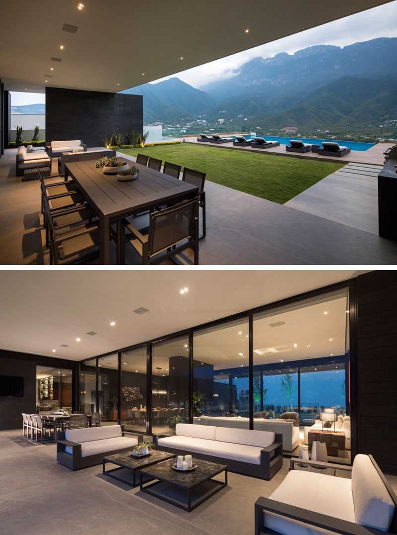 This modern house has a partially covered outdoor lounge and dining area, as well as an outdoor bbq/kitchen. #CoveredOutdoorSpaces #Landscaping #LandscapeDesign