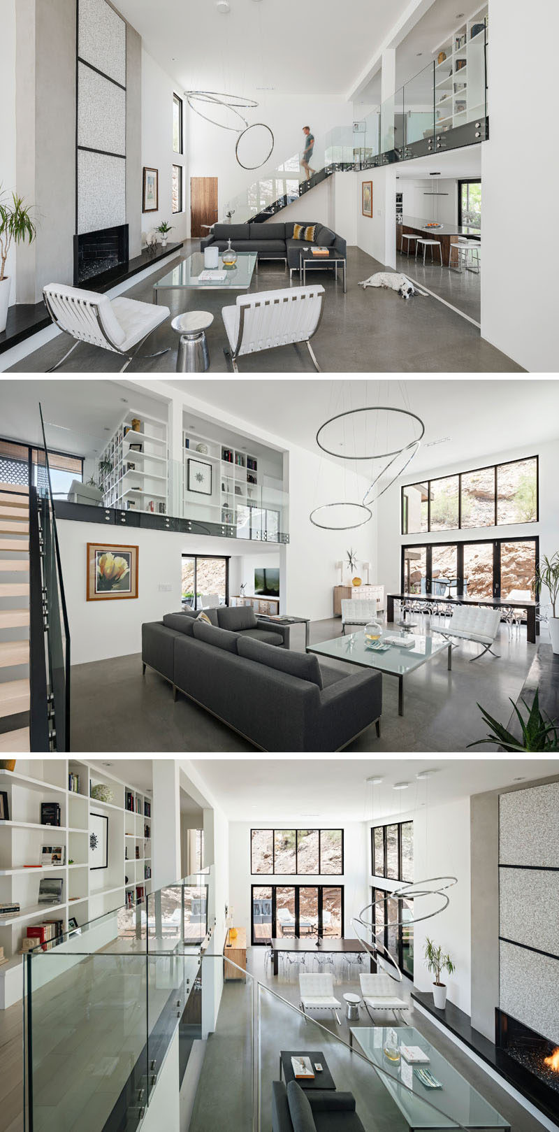 This modern family room features a double-height ceiling and plenty of windows for natural light and views of the red rocks. #FamilyRoom #ConcreteFloors #Windows