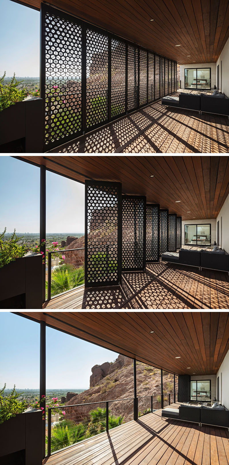This modern patio, which has an Ipe ceiling and floor, features bi-folding custom steel screens. #Patio #Deck #Screens #Architecture #ModernHouse