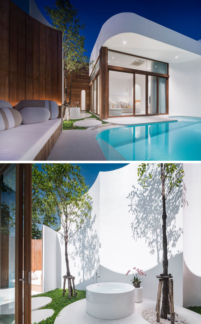 This modern hotel suite in Thailand has its own private swimming pool and outdoor bathtub. #HotelSuite #OutdoorBathtub #SwimmingPool