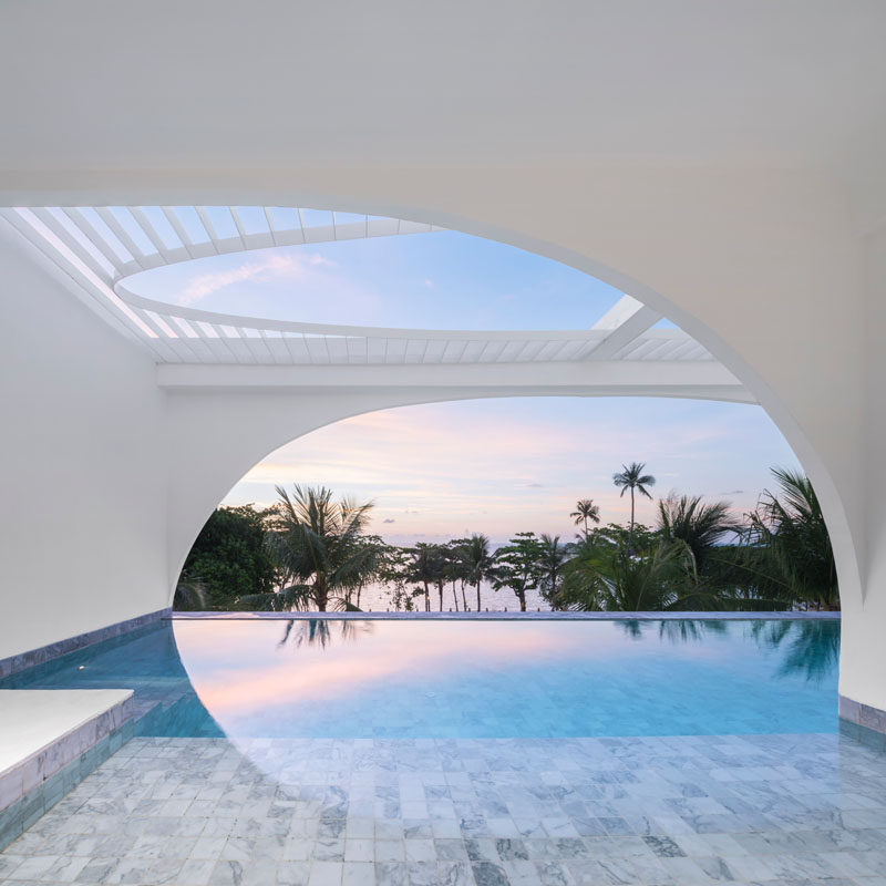 This modern hotel in Thailand has a private swimming pool for each hotel suite. #Hotel #SwimmingPool