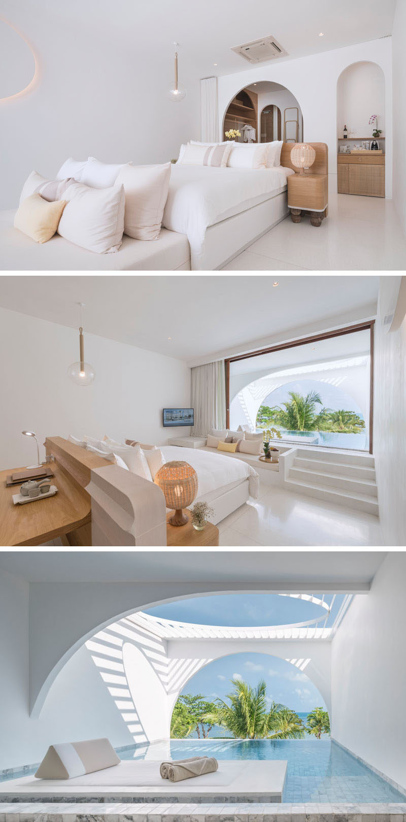 This modern hotel suite has a built-in couch that sits next to the steps that lead out to the private pool, while a desk has been built into the headboard of the bed. #HotelSuite #ModernHotelRoom #SwimmingPool