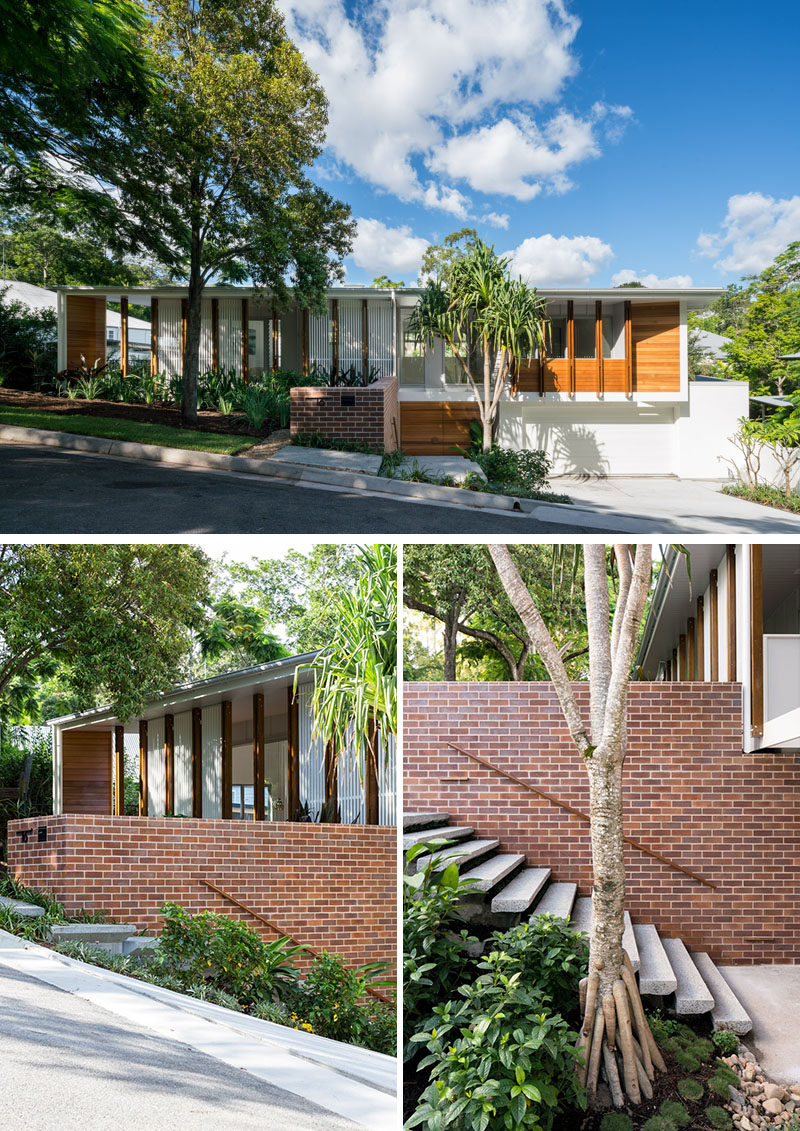 This contemporary house design replaced a 1960's brick & tile house, however the original house inspired the design of the new house to reference the Mid-Century period. #HouseDesign #Architecture