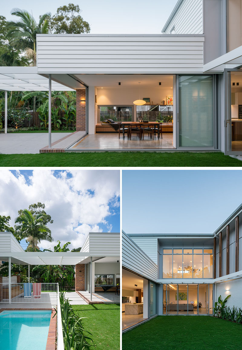 The interior spaces of this contemporary house open to a courtyard, allowing the home to be centered on indoor/outdoor living. Outside, there's a bbq terrace, a swimming pool and a lawn area. #Backyard #Landscaping #GlassWalls #IndoorOutdoor
