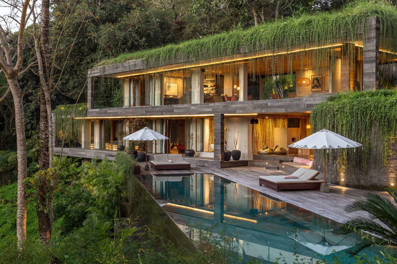 Architecture firm Word Of Mouth, have designed the 'Chameleon Villa', a multi-level home that's located in thesouthwest coastal area of Bali, Indonesia. #Architecture #ModernArchitecture #ModernHouse