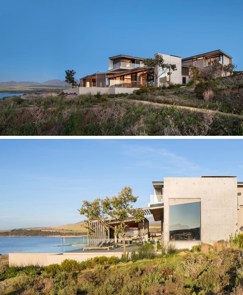 Interior design firm ARRCC in collaboration with architecture firm SAOTA, have recently completed the Benguela Cove residence, a new and modern holiday house in Overberg, South Africa, that has expansive views of a lagoon. #ModernArchitecture #ModernHouse