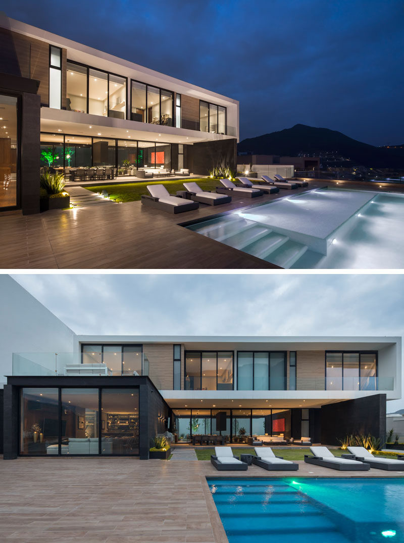 Gilberto L. Rodriguez of GLR Arquitectos has designed a modern house in Monterrey, Mexico, that enjoy views of the Sierra Madre Mountain Range. #Architecture #InteriorDesign #ModernHouse #Mexico