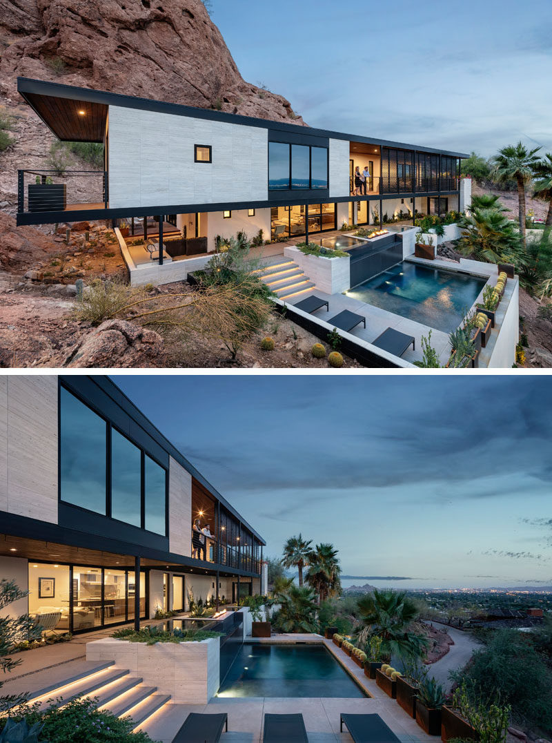 This modern house has a covered patio with stairs that lead downs to the pool area. #ModernHouse #Architecture #PoolDesign #Landscaping #SwimmingPool