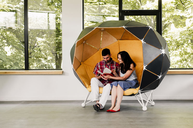 Ukrainian based design studio MZPA [mazepa], have designed 'The Planet for Two', a piece of office furniture that allows for two people to have a semi-private meeting space. #OfficeFurniture #WorkplaceFurniture #FurnitureDesign