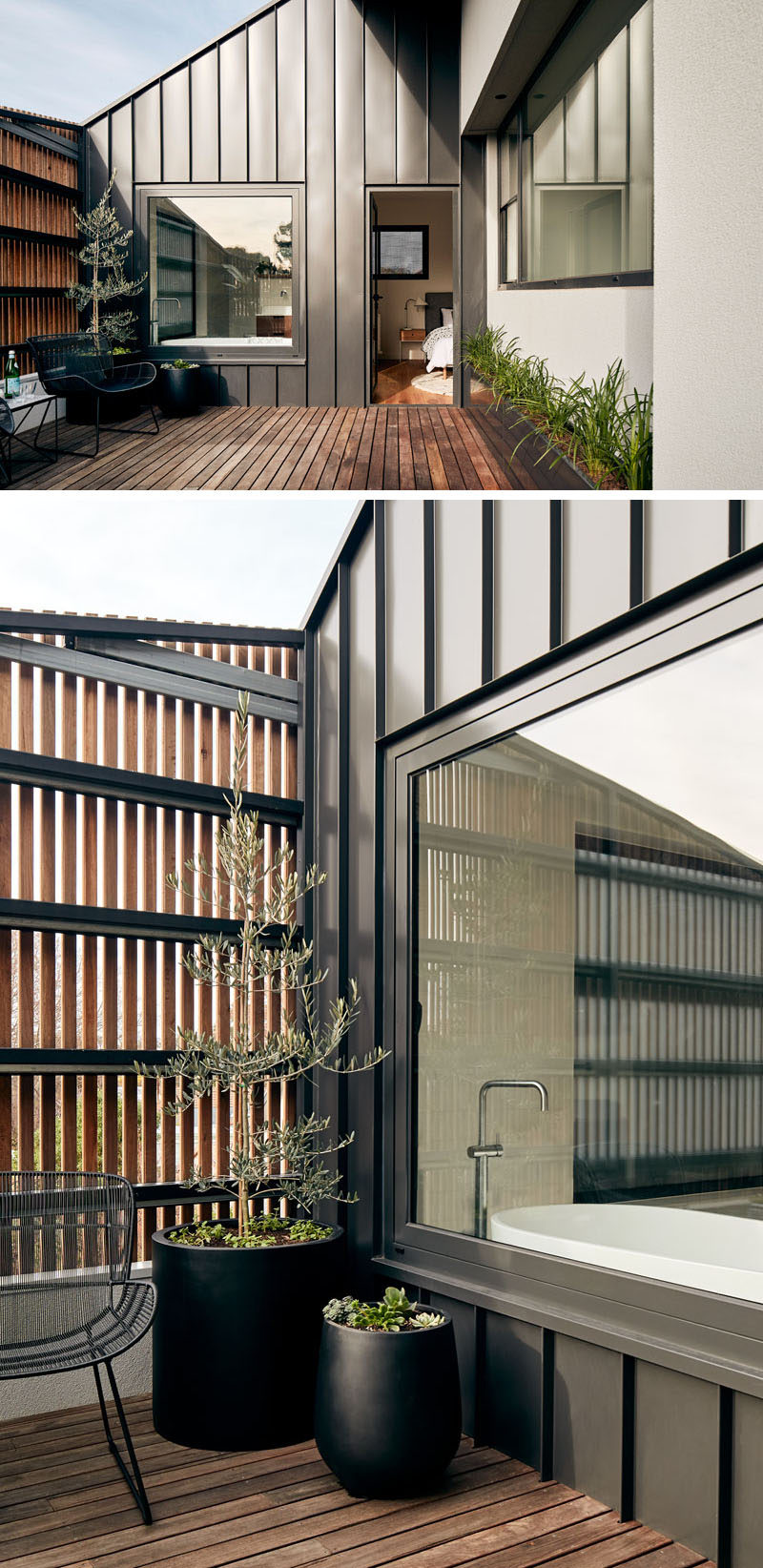This modern balcony, home to potted plants and an outdoor seating area, hides behind a wood screen that covers the facade of the home. #ModernHouse #Balcony #WoodScreen