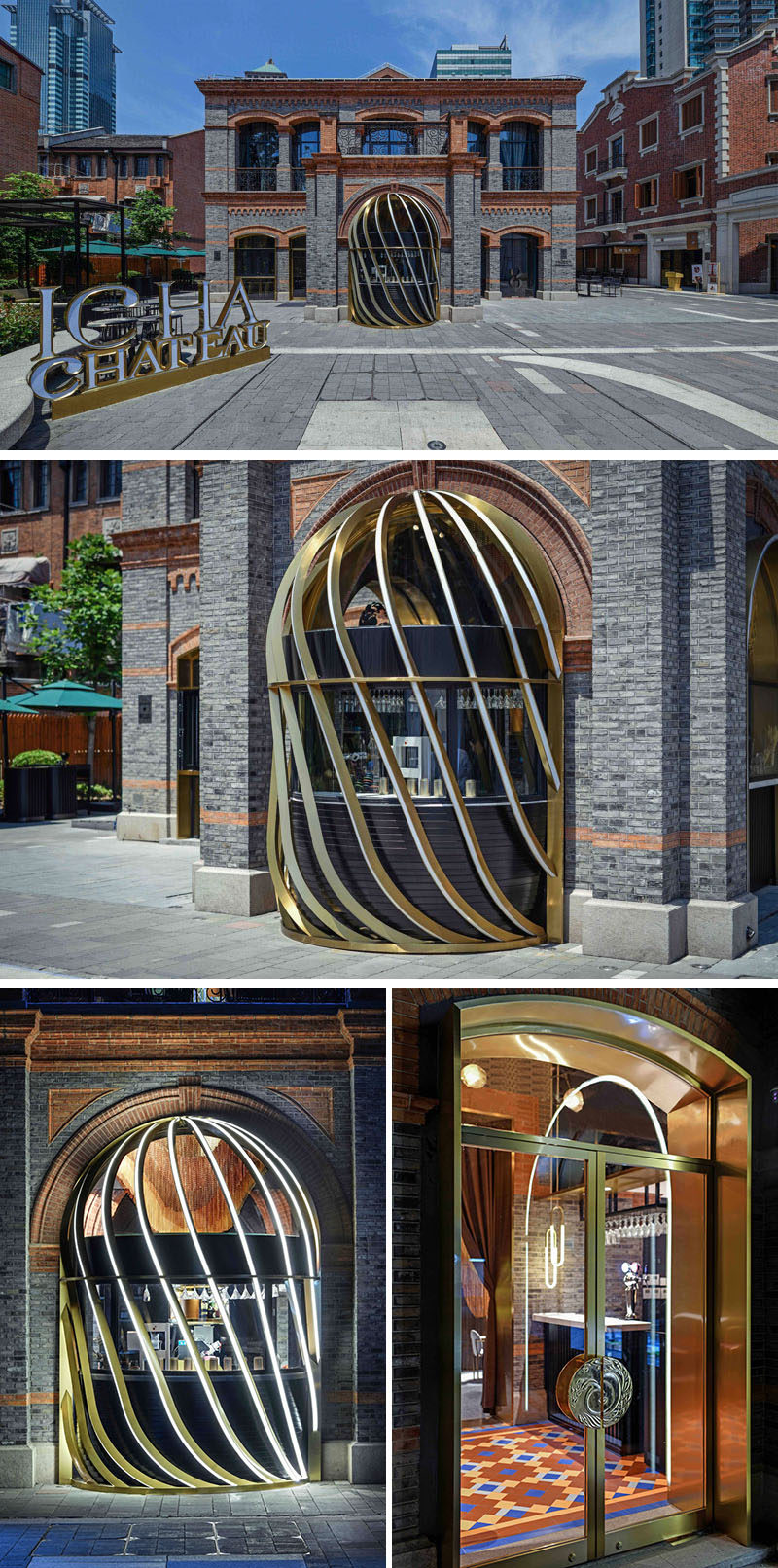 A sculptural brass cage, that lights up at night, has been integrated into the facade of the building and provides a glimpse of the modern restaurant within. #Restaurant #Building #Design