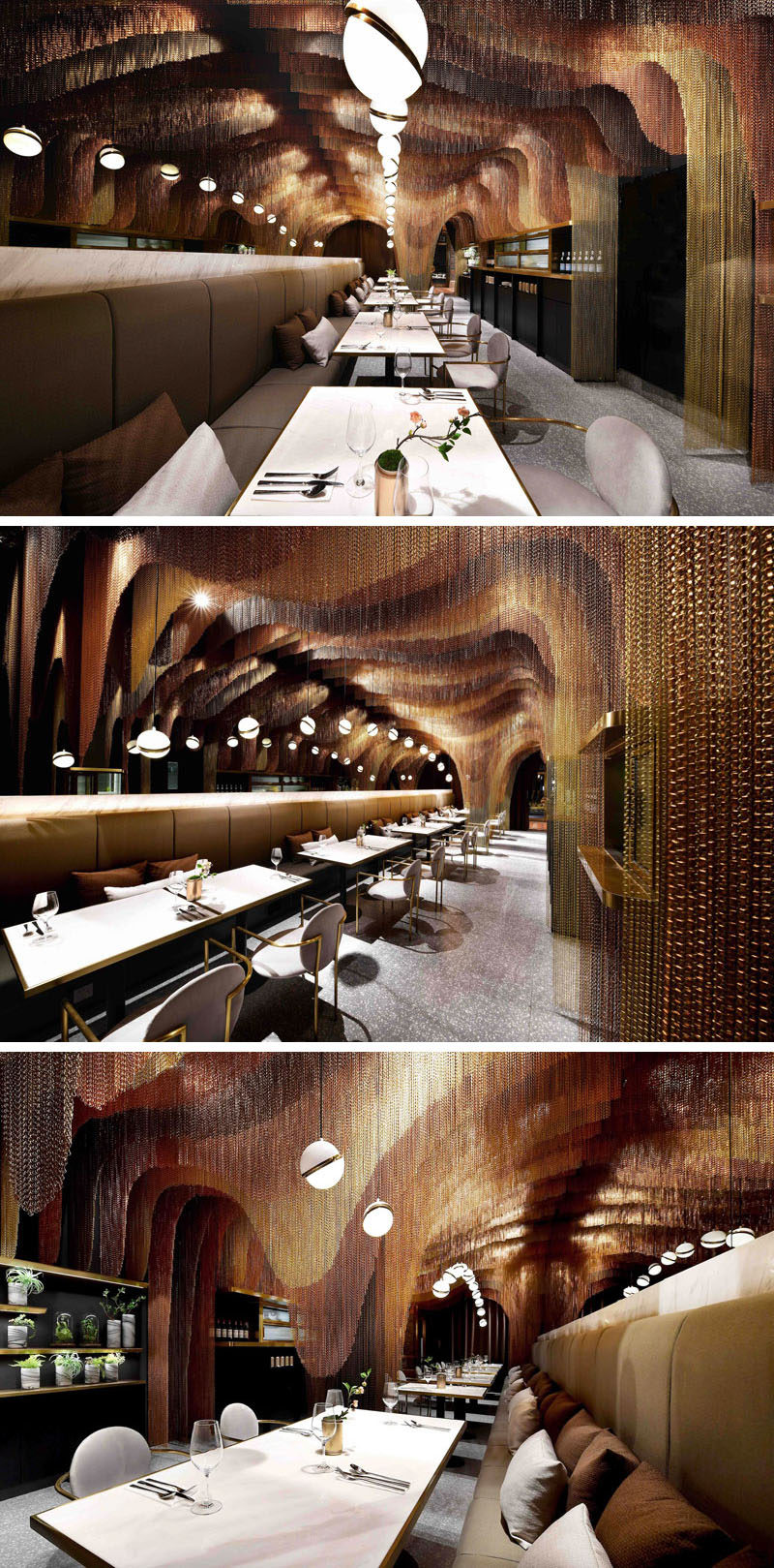 This modern restaurant features approximately 35,000 meters of gold chains that make up sculptural layers, mimicking the mountainous tea fields in China. #RestaurantDesign #ModernRestaurant #MetallicChains #InteriorDesign