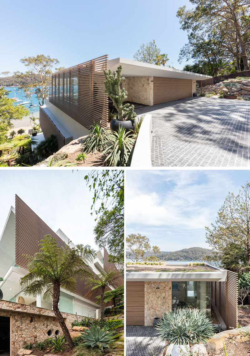 This modern terraced, four level house progressively steps down towards the water, and a series of floating platforms are presented as a sequence of cantilevered concrete slabs that float above a recessed stacked-stone podium. #Architecture #WaterfrontHouse #ModernHouse