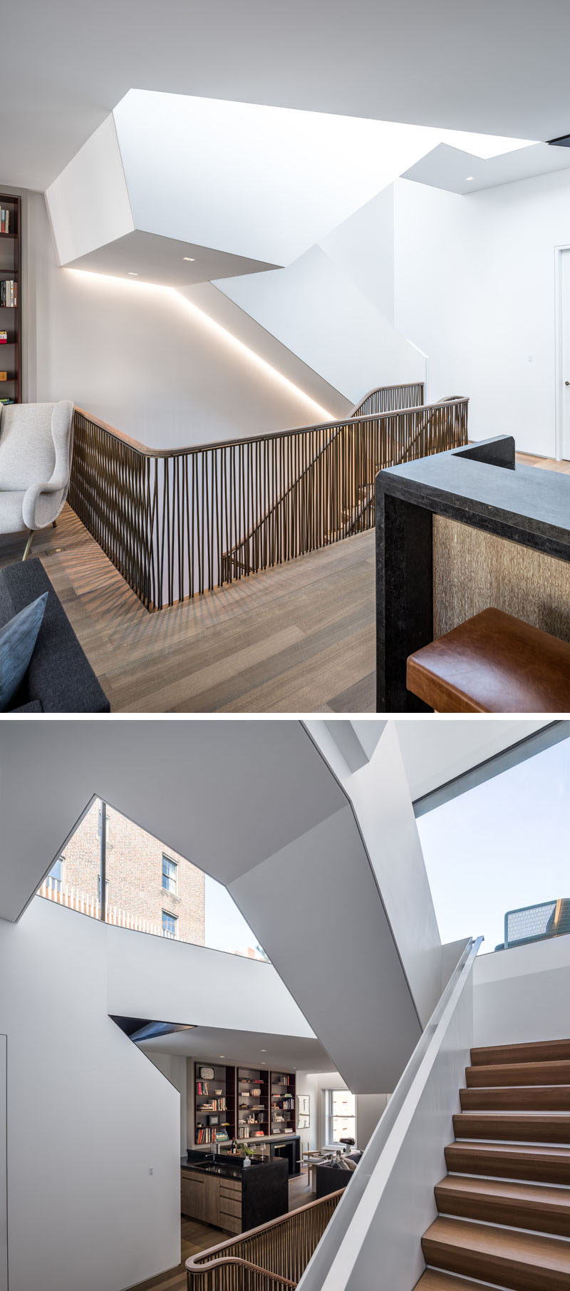 A structural steel plate stair links this modern library to the roof terrace above. #SteelStairs #Staircase