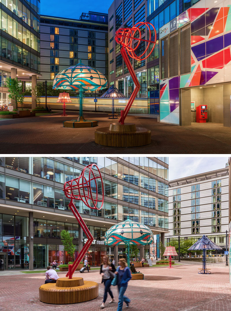 Art and design studio Arcylicize, has created 'The Manchester Lamps', five oversized lamps that illuminate the city of Manchester. #Art #Lighting #PublicArt #Sculpture #Installation