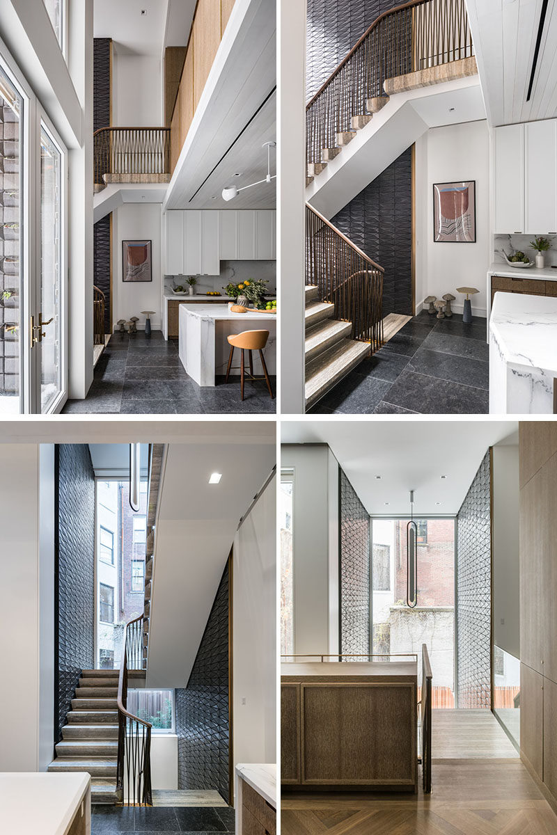 "This modern staircase is clad in glazed terra cotta tiles and is comprised of travertine block, with an undulating and braided bronze railing. The ""Dyade"" pendant light hanging above the stairs was designed by Julie Richoz. #Stairs #Staircase #Tiles #Railings"