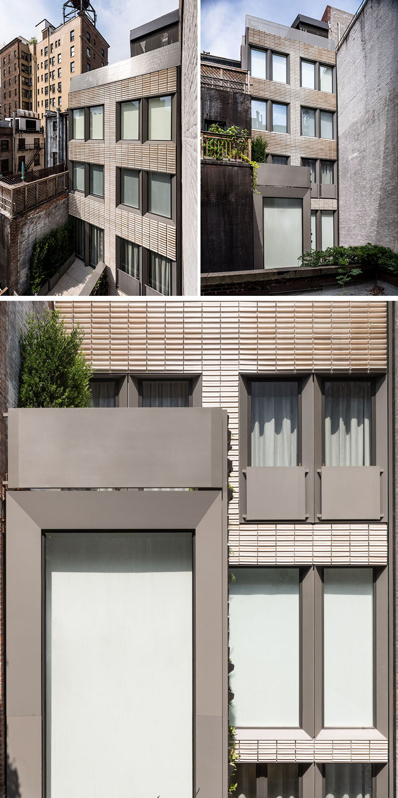 The terra cotta rear facade of this row house is accented by aluminum window trims with integral Juliet balconies that emphasize the depth of the facade and frames the oversized windows and patio doors. #Facade #RowHouse