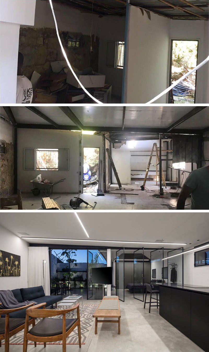 BEFORE + AFTER - This derelict property made up of a series of shacks was transformed into a bright and modern small house. #Renovation #BeforeAndAfter #InteriorDesign