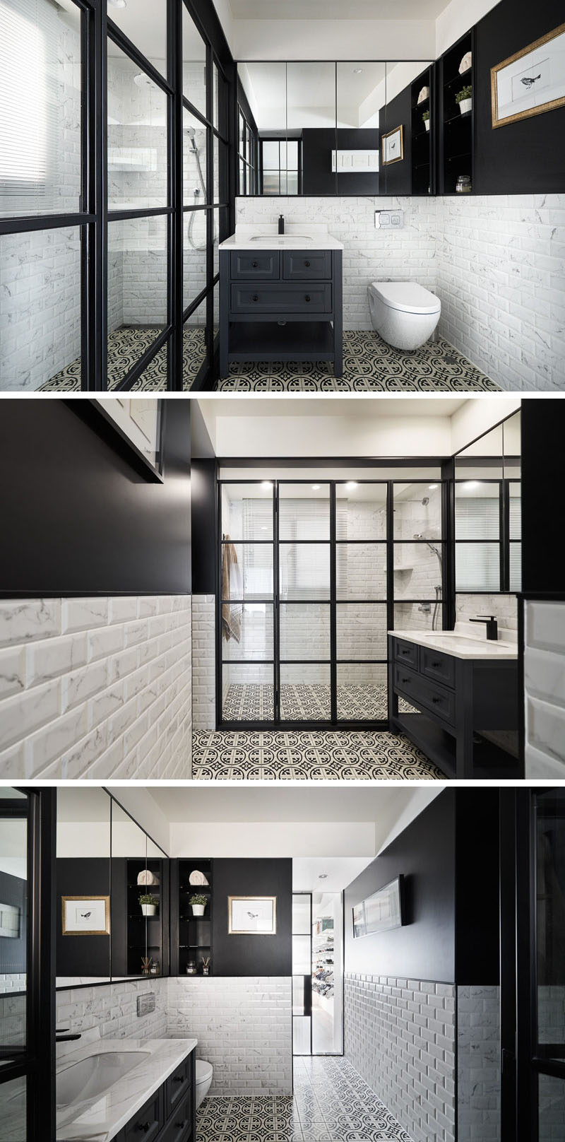 In this modern bathroom, a black-framed glass partition encloses the shower, and complements the upper half of the walls that are painted black. #Bathroom #ModernBathroom
