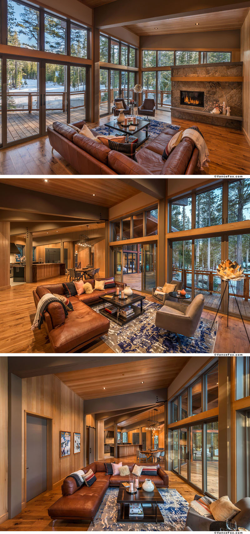 The upper floor of this modern mountain home is centered around a great room, with one end of the room dedicated to a living room with a fireplace. #ModernCabin #ModernHouse #LivingRoom #GreatRoom