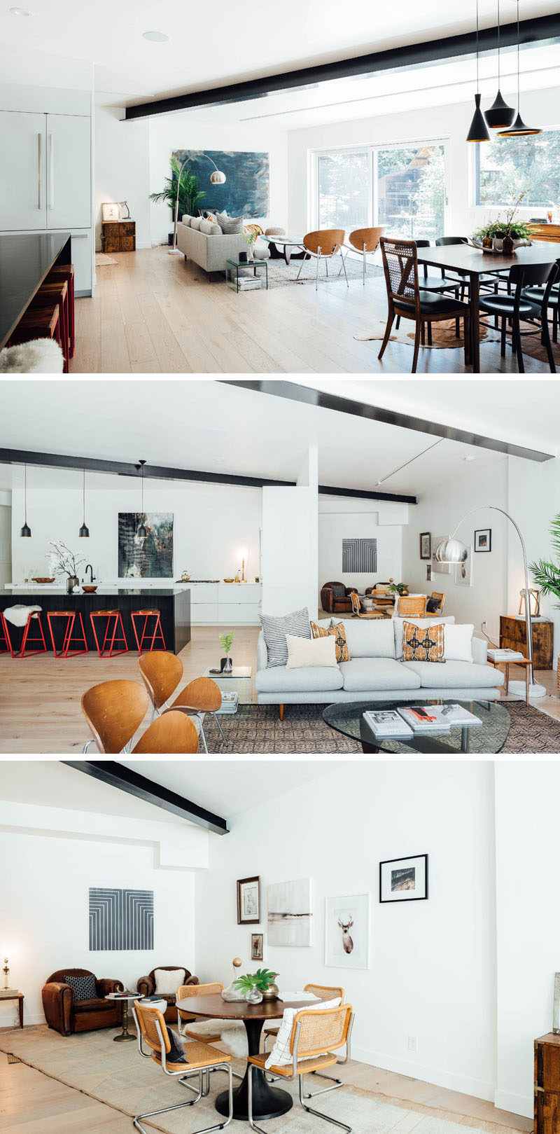 Inside this modern house, white walls, high ceilings, and large windows allow the open floor plan to feel bright and airy. A patterned rug defines the living room, while behind the couch, there's an alcove with a round table surrounded by chairs, and a couple of leather club chairs. #LivingRoom #ModernInterior #OpenFloorPlan