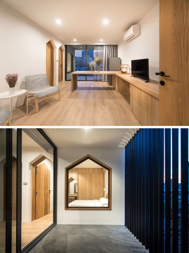This apartment features gabled design elements in the window frames, door frames, and built-in vanity. #Gabled #InteriorDesign