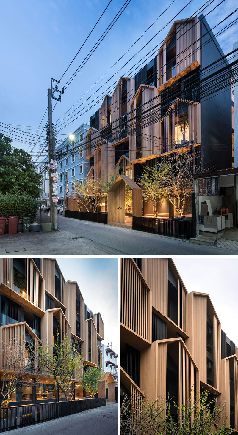 Modular gabled sections made from wood cover the facade of this modern apartment building in Bangkok, Thailand. #Architecture #Facade #ModernBuilding