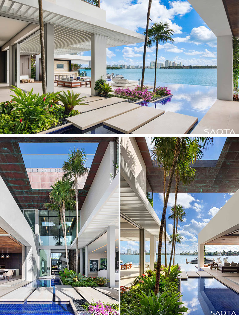 The interior spaces of this modern house flow out onto a spacious deck with semi-covered lounge areas that are connected by 'island' pathways. #OutdoorSpaces #Landscaping #PoolDesign