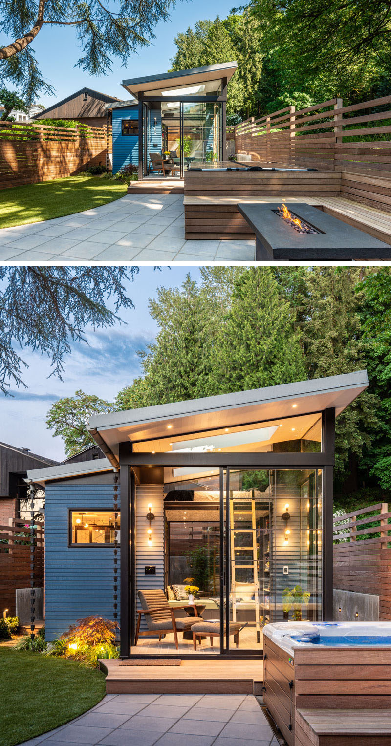Architecture and design studio Board & Vellum, have created a backyard reading retreat that's surrounded by outdoor seating, a firepit, a hot tub, and a new backyard shed. #BackyardStudio #BackyardRetreat #Architecture
