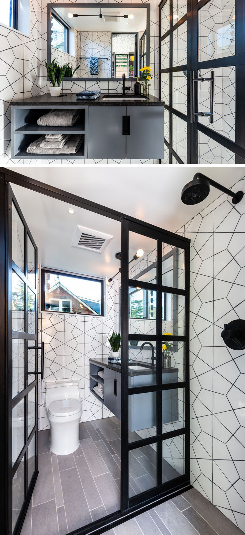 In this small and modern bathroom, white geometric tiles with black grout cover the walls, while a black framed glass screen partitions the shower off from the rest of the bathroom. #Bathroom #BlackAndWhite #ModernBathroom