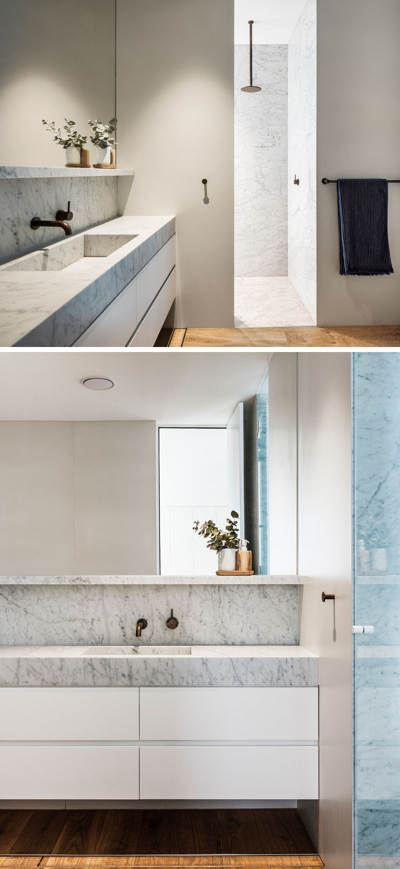 In this modern bathroom, a light grey stone countertop sits on a white vanity, and a walk-in shower has a simple rainfall shower head. #ModernBathroom #BathroomDesign