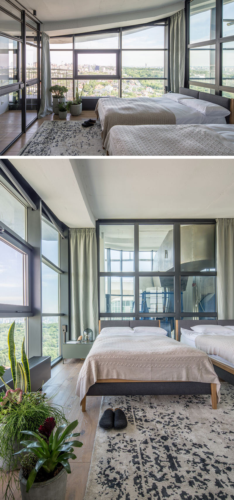 The guest bedroom of this industrial modern penthouse apartment features walls of steel framed glass. #Bedroom #Windows